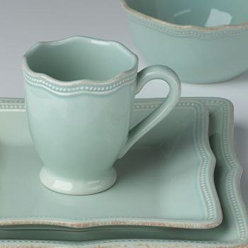 Lenox French Perle Bead Ice Blue Square 4pc Place Setting Set