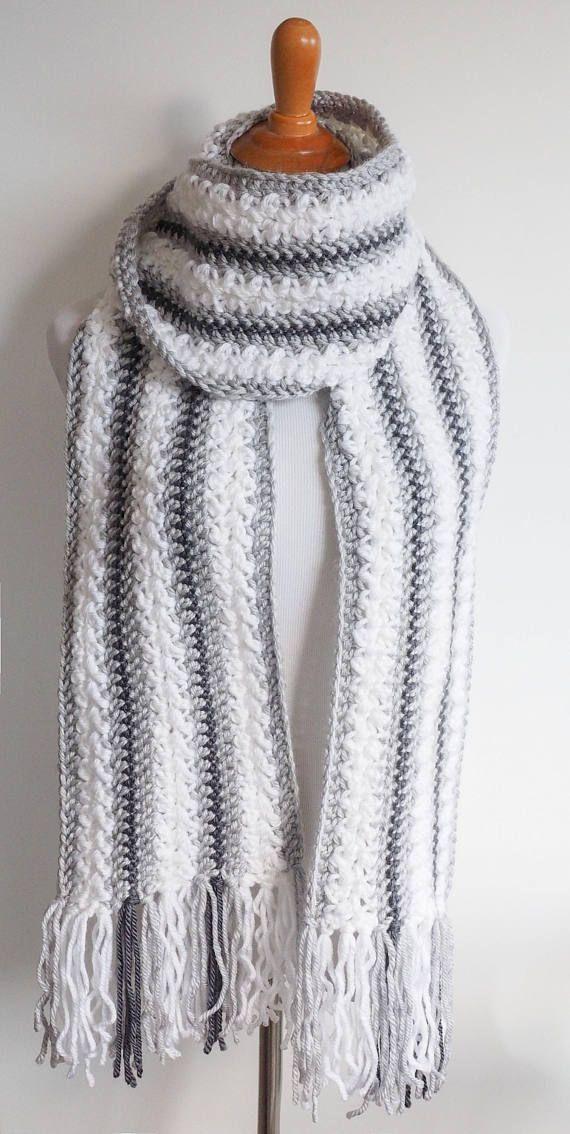 Chunky Yarn Scarf Crochet Pattern   Striped Scarf Pattern   Women\'s ...