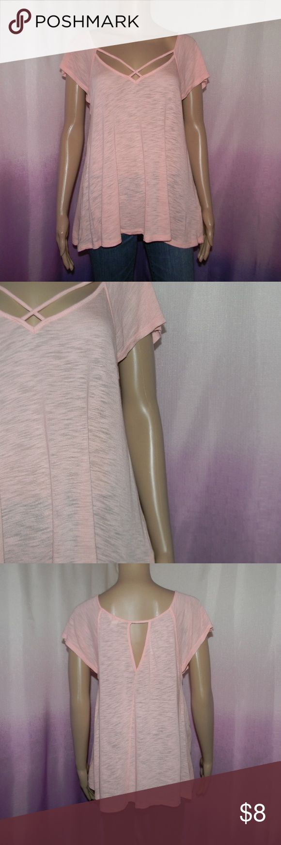 """Bethany Mota Pink Strappy Top Size medium, very good condition, 80% rayon 20% cotton, 17"""" bust, 26"""" long, worn 5-7 times -Sorry NO TRADES and NO HOLDS -Ships from California -Comes from smoke free, dog friendly homes -I can't model at this time, the mannequin measurements are 32.5"""" bust, 24"""" waist, 34"""" hips, and is 5'10"""" and a size S/M -Items are measured by hand and done laying flat Bethany Mota Tops Tees - Short Sleeve"""