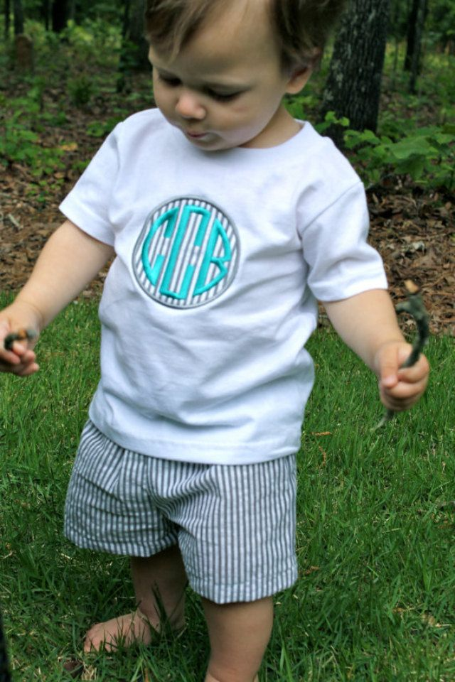 Grey Seersucker Monogram Shirt with Matching Shorts by FuchsiaFrog, $34.00