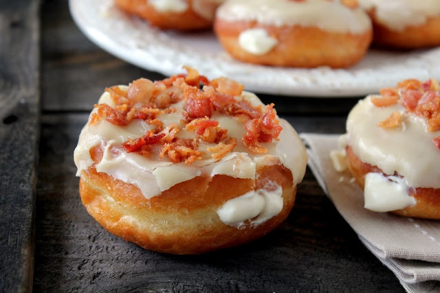 Donuts Filled with Maple Mousse and Topped with Maple Bacon Frosting and Crumbled Bacon