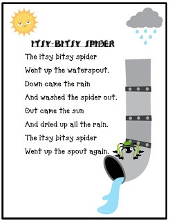 Nursery Rhymes-free printables: itsy bitsy spider and little miss muffet