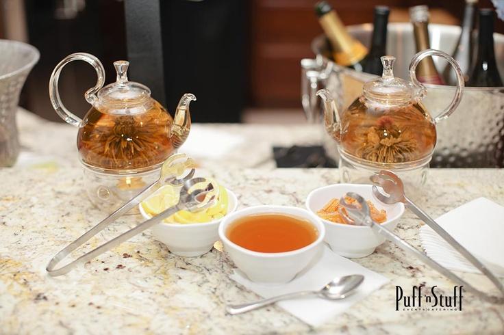 Hot Tea Station   Puff 'n Stuff Catering   Tampa + Orlando, FL    puffnstuff.com   Photo by Sara Kauss   #tea #teaparty #honey #orange