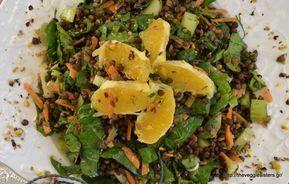 Σαλάτα με φακές, σπανάκι και πορτοκάλι - The Veggie Sisters