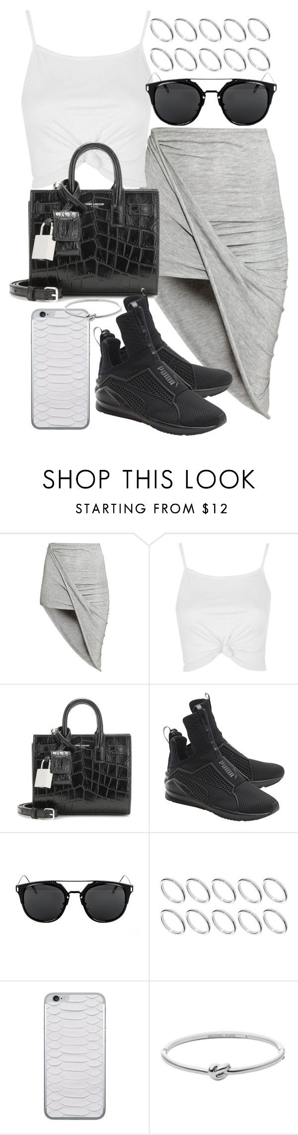 """""""Untitled #19792"""" by florencia95 ❤ liked on Polyvore featuring H&M, Topshop, Yves Saint Laurent, Puma, ASOS, Jamie Clawson and Michael Kors"""