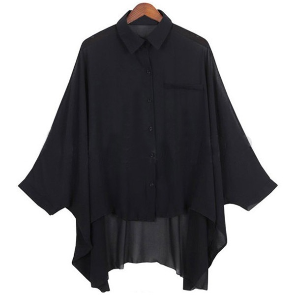 NEW Women's Chiffon Batwing T-shirt Blouse Black& NUDE ($11) ❤ liked on Polyvore