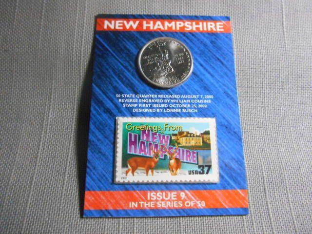 2000 US Mint State Of New Hampshire D Quarter Postal 37 Cent Stamp Sealed Issue USMINT Statehood NewHampshire Washington