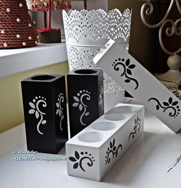 Komplet świeczników - czarno - biały