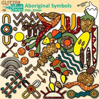 Aboriginal symbols clipart with touches of glitter is in store! Are you on the hunt for some multicultural, Aboriginal-inspired graphics to use in your art lessons or TPT seller products? Are you celebrating NAIDOC Week or Australia Day? These glitter-filled images are a great way to show pride in Australian indigenous people.Aboriginal Symbols Clip Art comes in 32 different colors as well as a blackline version. #art