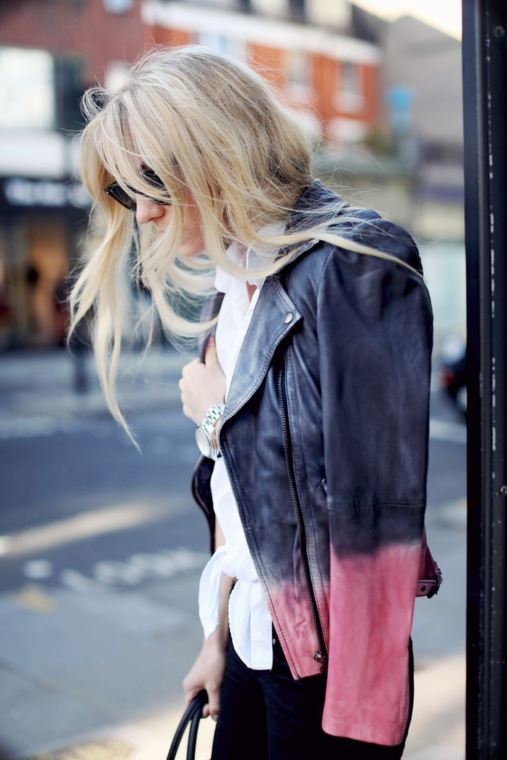Ombre leather jacket