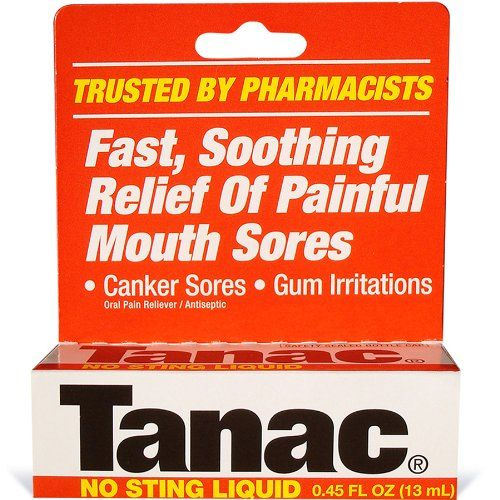Tanac Oral Pain Relief Liquid, 0.45 Ounce:   Tang is fast, soothing relief of painful mouth sores such as canker sores, gum irritations, cold sores and fever blisters. Tang is fast, soothing relief of painful mouth sores such as canker sores, gum irritations, cold sores and fever blisters. Tang is fast, soothing relief of painful mouth sores such as canker sores, gum irritations, cold sores and fever blisters. Tang is fast, soothing relief of painful mouth sores such as canker sores, g...
