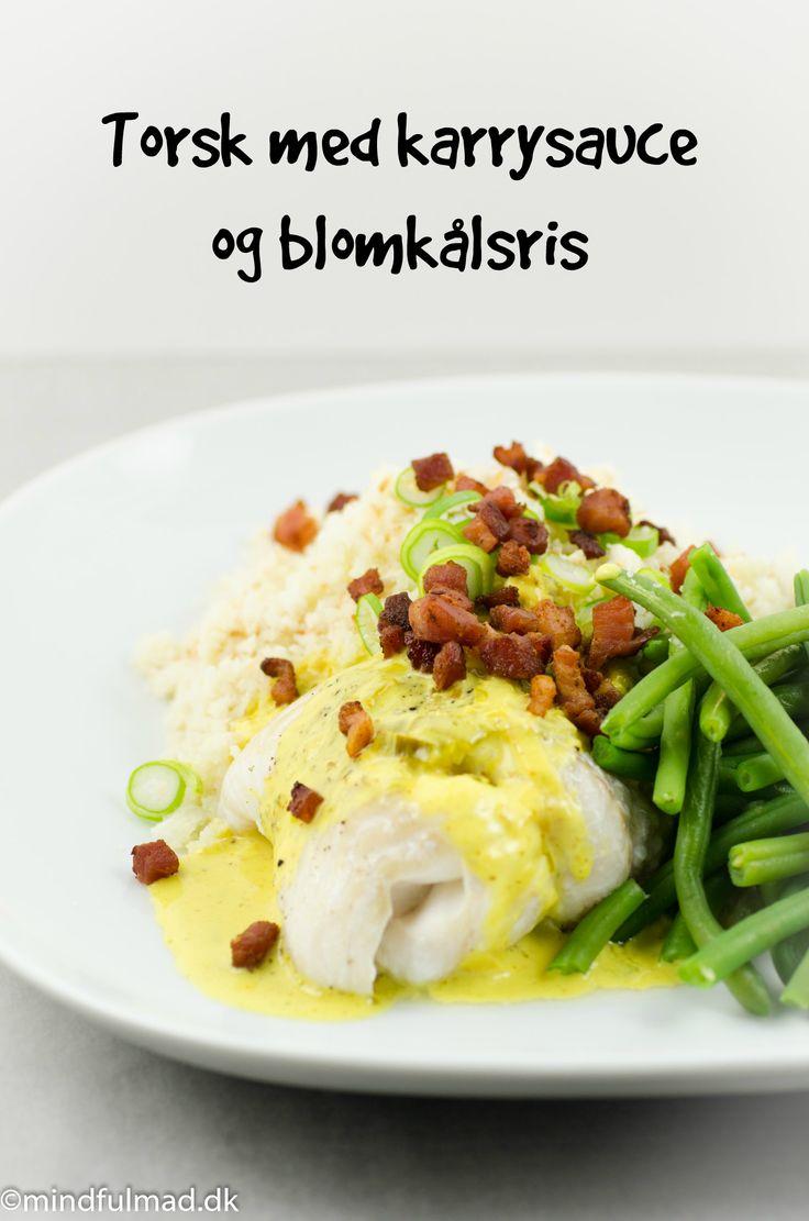 LCHF torsk med karrysauce og blomkålsris