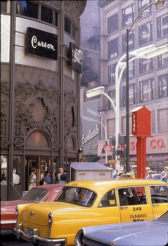 Bronze-plated cast iron ornamentation above entrance of former Carson, Pirie, Scott & Co. (north west corner at State and Madison in Chicago) — Architect:  Louis H. Sullivan. (Photo cir. 1960s)