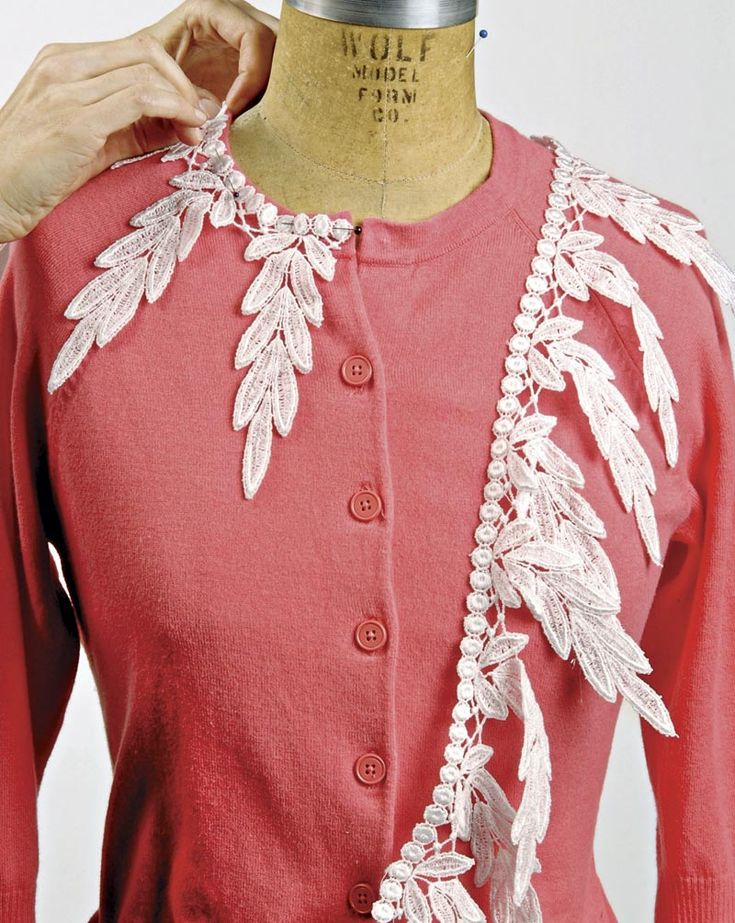 The key is to choose lace with some substance; this gives the finished garment a pretty update that's neither fussy nor childish. You can find suitable lace not only at fabric and trim stores but also online. If you're lucky, you may have a vintage tablecloth or pair of curtains that are ready to be recycled