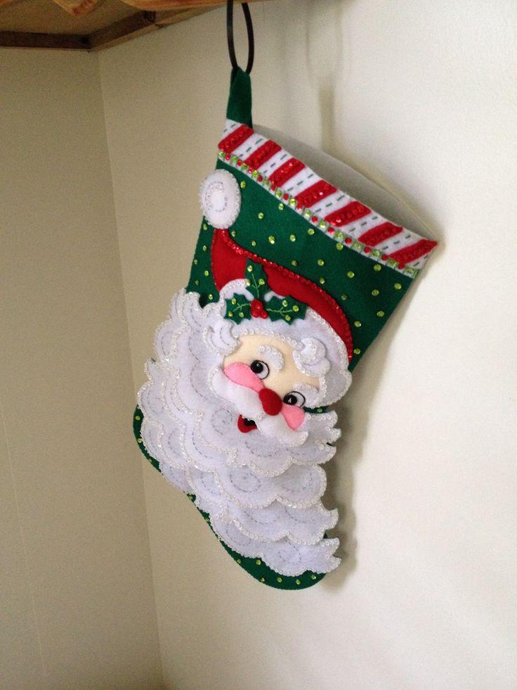 Bucilla kit I made for my sister. She loves Santas and collects Santa ornaments. #Bucilla #Felt Stocking #Jolly St. Nick