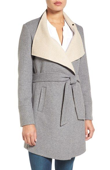 Free shipping and returns on Laundry by Shelli Segal Double Face Wrap Coat (Regular & Petite) at Nordstrom.com. A broad collar and coordinating two-tone belt show off the double-face construction of a charming wrap coat tailored with a flattering, slightly flared fit.