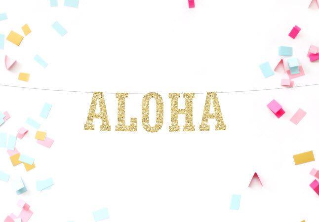 Luau Party Decorations, Aloha Banner, Pool Party, Hawaiian Birthday, Beach Birthday, Baby Shower, Birthday Banner, Destination Wedding by MailboxHappiness on Etsy https://www.etsy.com/listing/384887598/luau-party-decorations-aloha-banner-pool