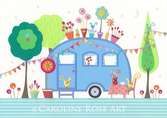 Beautiful prints of a paper collage by Caroline Rose @Gail Regan Truax://www.etsy.com/listing/96019903/settle-giclee-art-print-retro-caravan