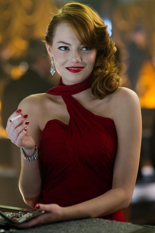 Emma Stone + red dress in Gangster Squad