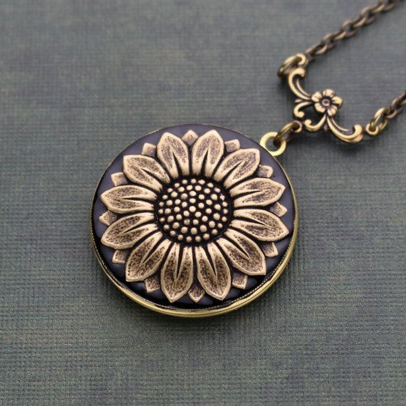 Sunflower Locket Necklace Sunflower Locket by PurplePosyCo on Etsy
