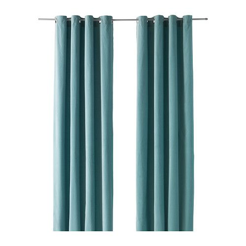 "IKEA - SANELA, Curtains, 1 pair, 55x118 "", , The thick curtains darken the room and provide privacy by preventing people outside from seeing into the room.</t><t>Cotton velvet gives depth to the color and is soft to the touch.</t><t>The eyelet heading allows you to hang the curtains directly on a curtain rod."