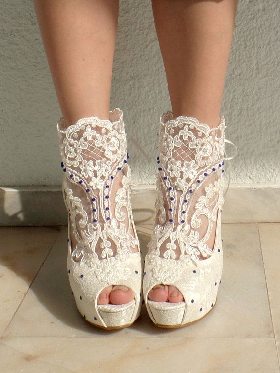 Wedding Shoes  Bridal Shoes Blue Embroidered Ivory Lace