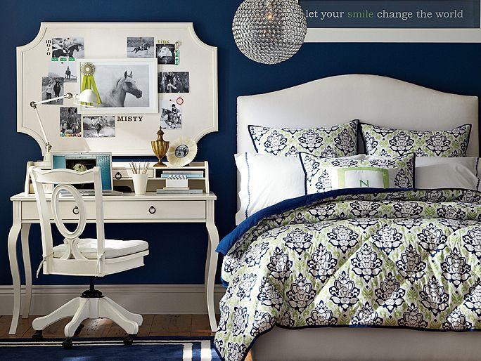 Raleigh Paisley Bedroom - pretty bedroom - love dark blue walls with white trim and furniture and bamboo flooring