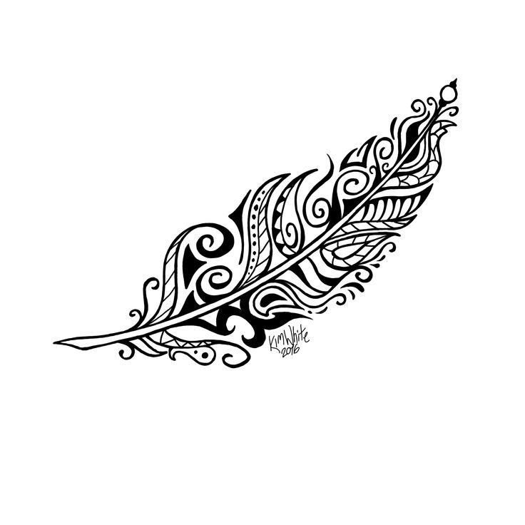 Tribal henna feather