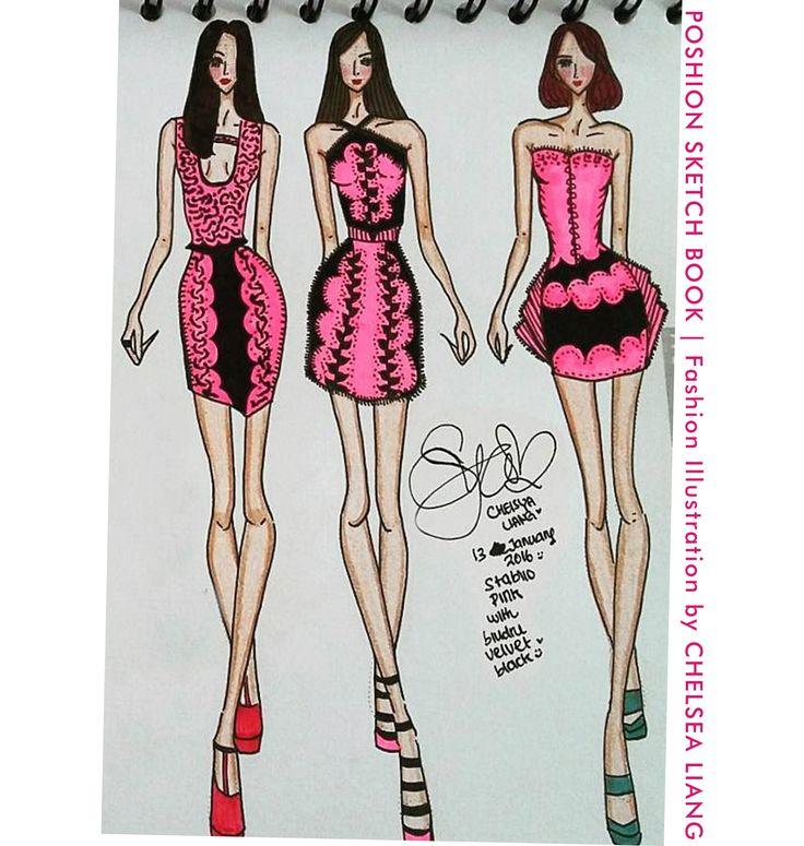 Poshion Sketch Book | #fashionillustration #sketchbook #fashionsketch #fashiondesign #draw #croquis #learntodraw #fashionposes #fashionfigure #fashion #batik #textiledesign #indonesiandesigner #fashiondesigner #pink