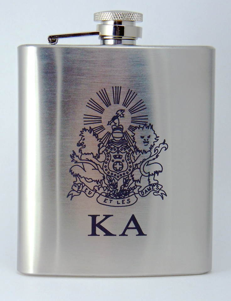 Kappa Alpha Order Laser Engraved Crest Brushed Silver 8 oz. Stainless Steel Flask