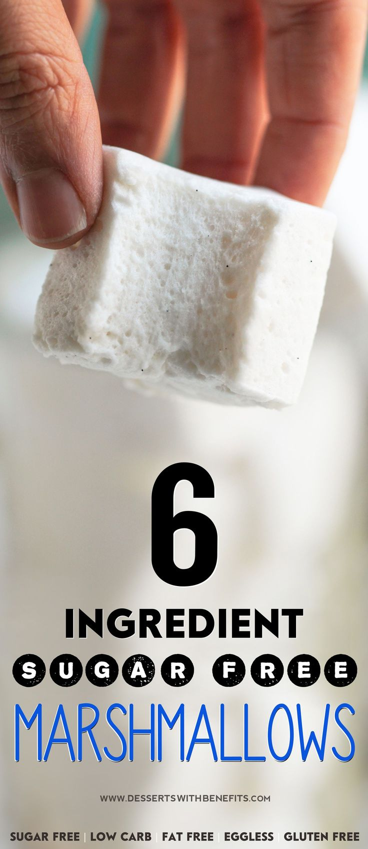 6-ingredient Healthy Homemade Sugar-Free Marshmallows (they're SUPER fun to make too)! You'd never know that these fluffy, sweet marshmallows are all natural, sugar free, low carb, fat free, eggless, and gluten free!