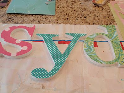 DIY Fabric Covered Letters...I used spray adhesive and sprayed the front of the letter, stick the letter to the fabric and then cut it out so the fabric wouldn't move!!