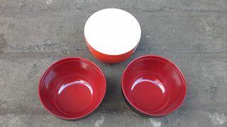 Selatan Jaya distributor barang plastik Surabaya: Mangkok Tutup melamin ulir datar 6 inch 2 warna ko...