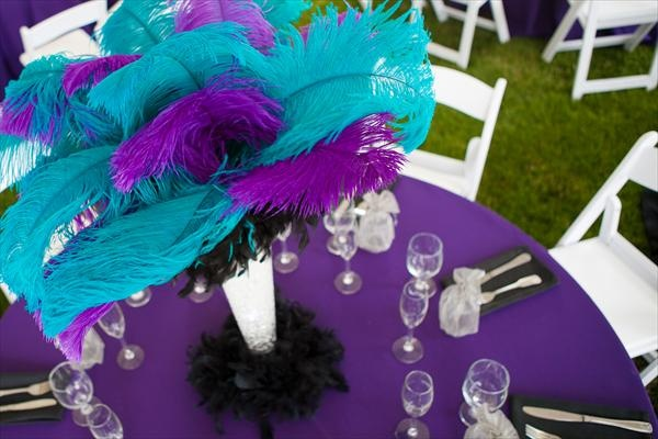 teal and purple feathers