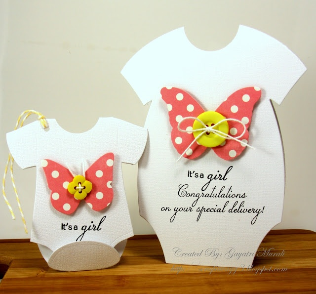 Handmade by G3: Baby cards and coordinating tags.