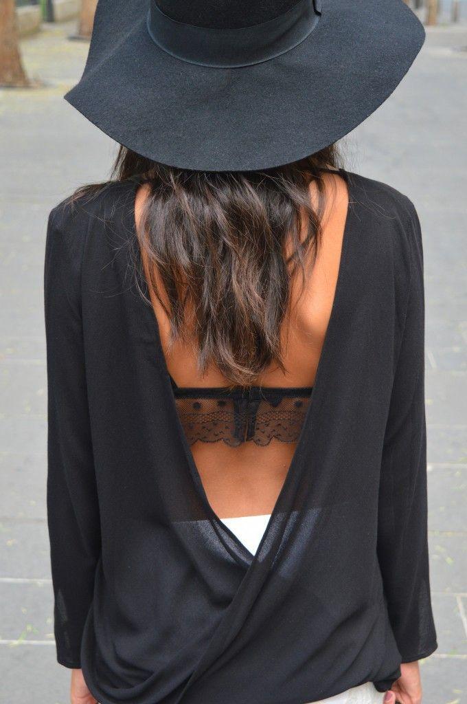 Jupe dentelle dos nus zara chapeau tenue mode idée noir tendance automne hiver 2014 2015 mode blog mode fashion chapeau - cheap black lingerie, lingerie catalog, fishnet lingerie *ad