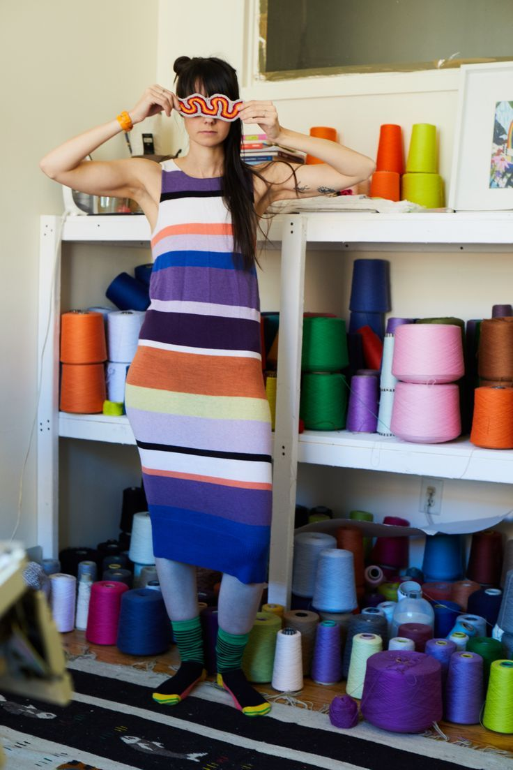 Knit Wit magazine's 2017 covergirl is definitely shelfie ready�Lindsay Degen of DEGEN shows us around her studio and it's as rainbow bright as we thought it would be! We talk inspiration, the privileged realities of ]knitting and crafting, art school and