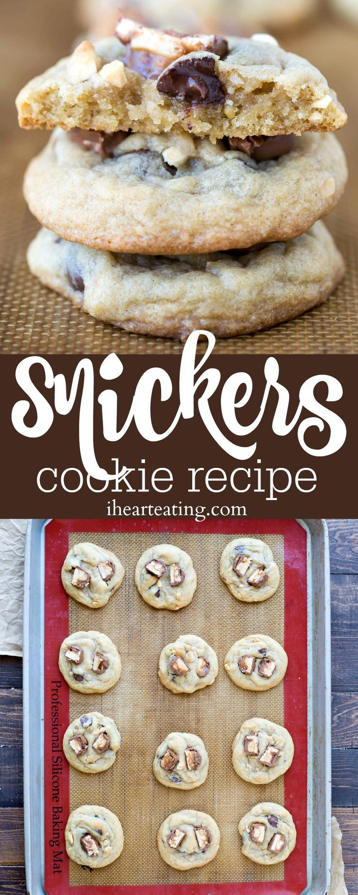 Snickers Cookie Recipe- soft and chewy chocolate chip cookies topped with pieces of Snickers candy bars!
