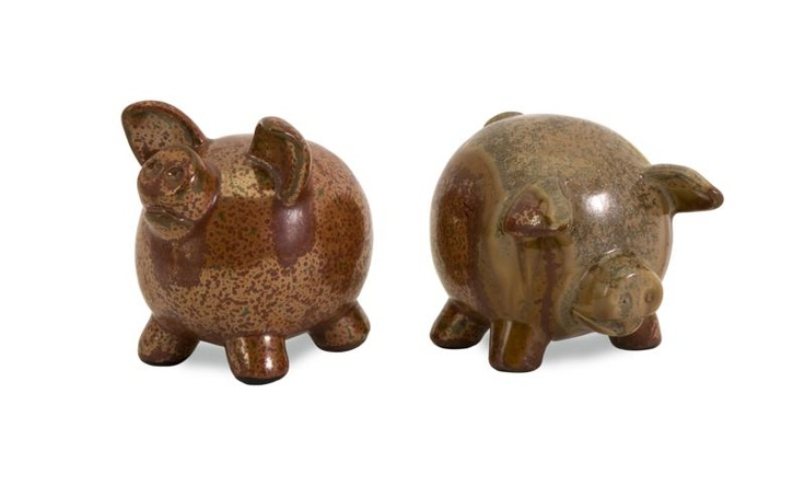 """Vincentio Small Pigs - Set of two unique antique style pigs with a shiny finish. Material: 100% Ceramic. 4.5-5""""h x 4.5""""w x 5""""."""