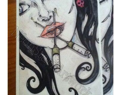 """Needle+face""+Horror+print nz"
