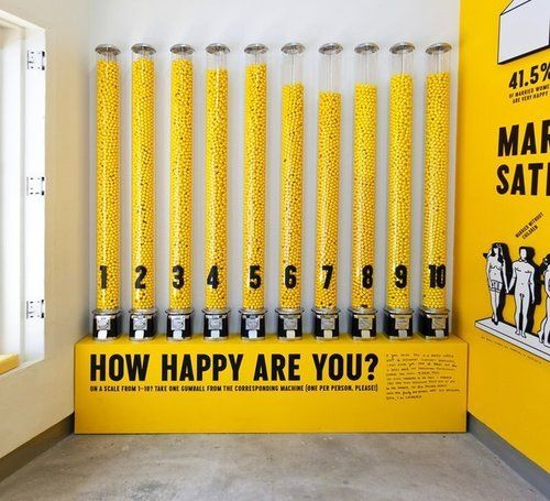 Visitors take a gumball from the machine which best illustrates their happiness.  Designed by Stefan Stagmeister