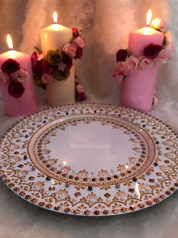 White And Gold Made To Order Mehndi Thaal Wedding Home Table