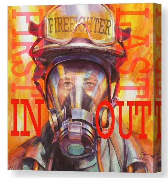 Firefighter Canvas Wall Art In 2020 Art Canvas Prints Canvas Art
