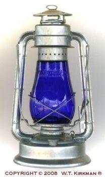 "W.T. Kirkman No. 2 ""Champion"" Cold Blast Lantern with Colored Globe"