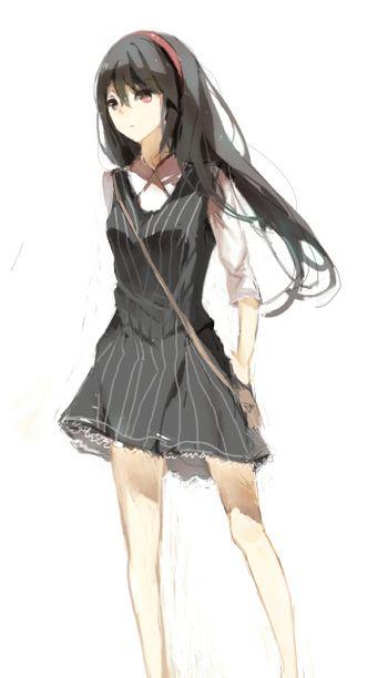 Anime long black dress