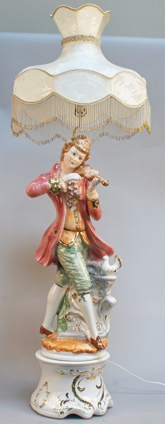 Capodimonte Porcelain Figural Boy Large Lamp On Base w/ Shade, Fine hand-painted Italian porcelain w/ gold detail, Featuring Victorian boy w...