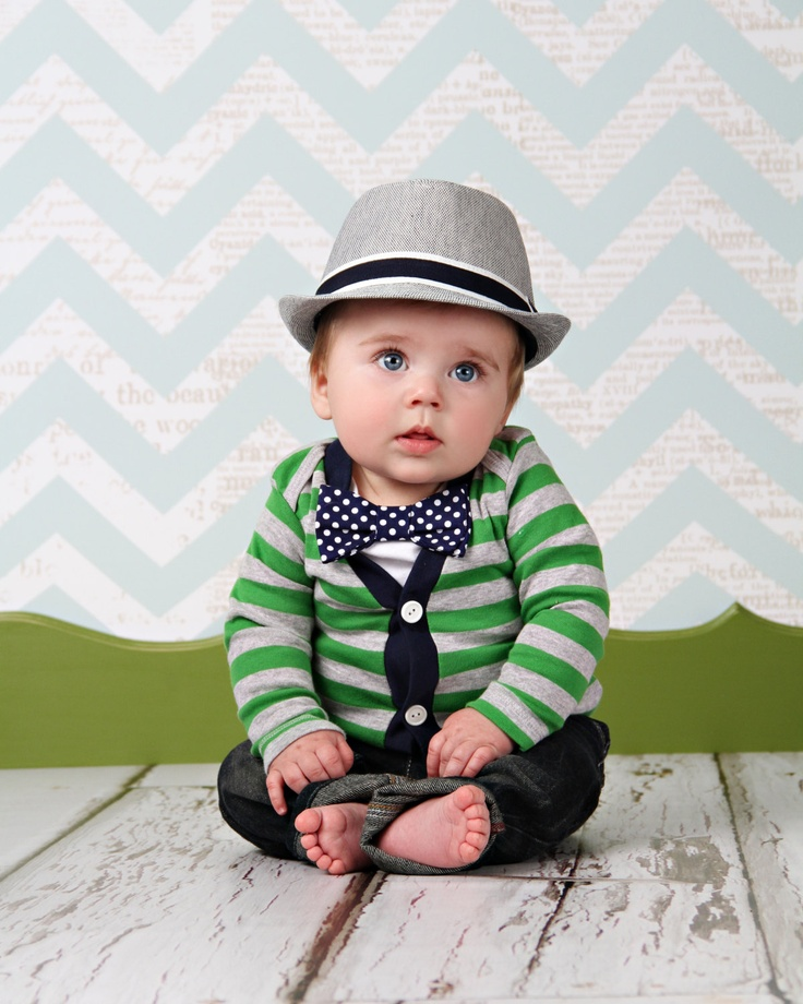 Cardigan And Bow Tie Onesie Set Green With Navy Polka