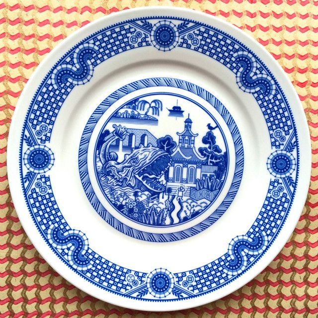 Calamityware, Porcelain Plates with Traditional Designs That Are Augmented with Monsters: Dinners Plates, Don Moyer, Traditional Blue, Art, Porcelain Plates, Graphics Design, Calamitywar, Sea Monsters, Blue Porcelain