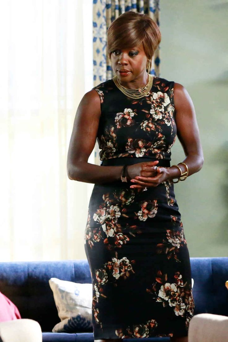 Annalise Keating in her signature body-con shift dress and full-on accessories game. Photo: ABC/Mitch Haaseth