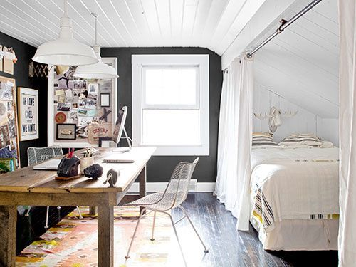 Like the chalkboard paint and collection of pictures on the walls.